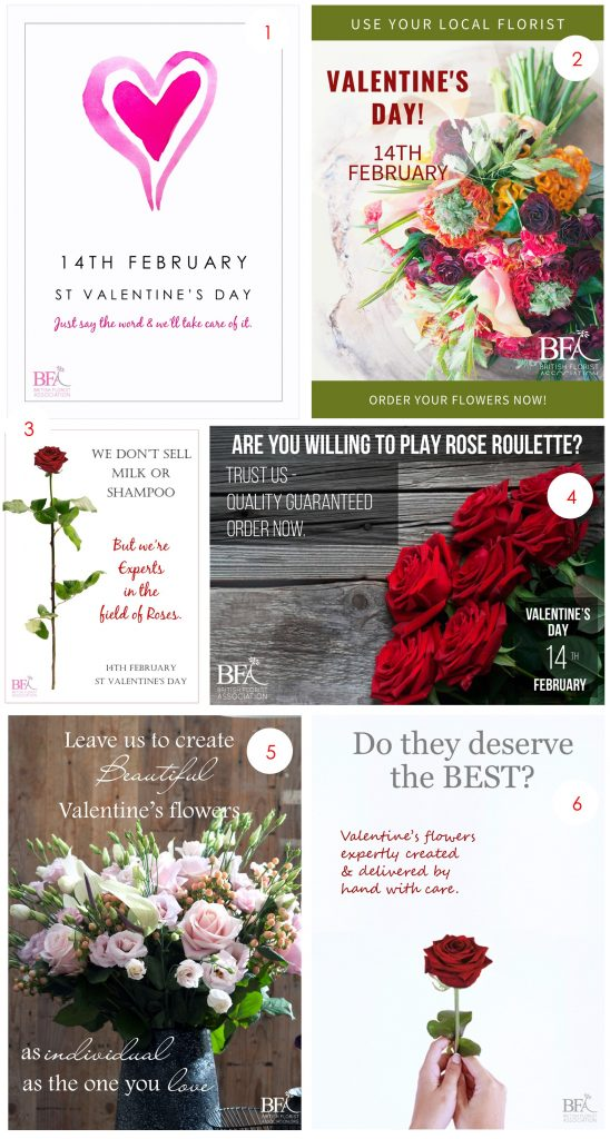 British Florist Association Valentines Posters for 2020 and Facebook Cover images